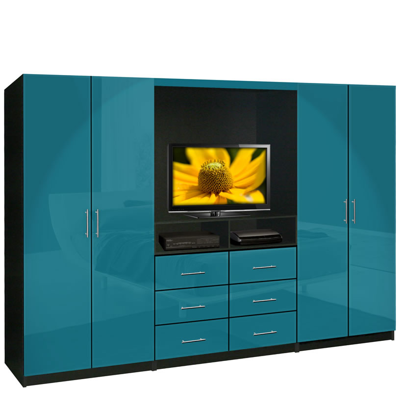 Aventa tv wardrobe wall unit free standing bedroom tv for Wall units for bedroom