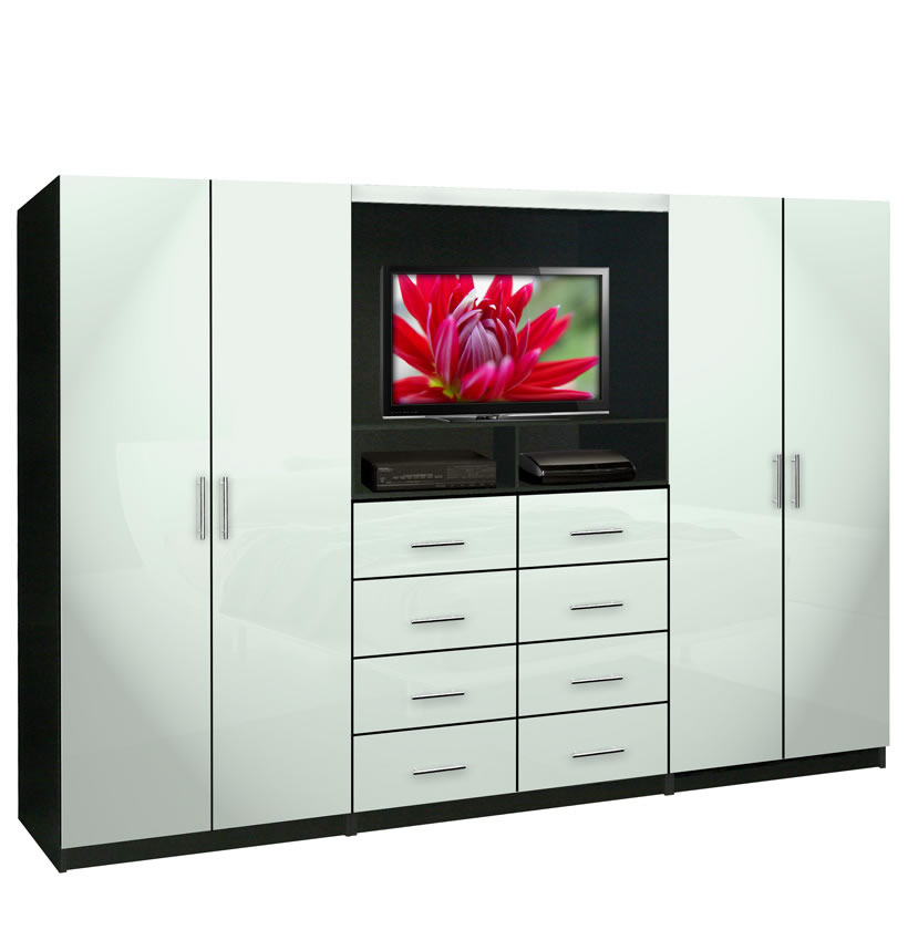 Aventa tv wall unit for bedrooms bedroom wall unit 8 for Bedroom wall units with wardrobe for small room