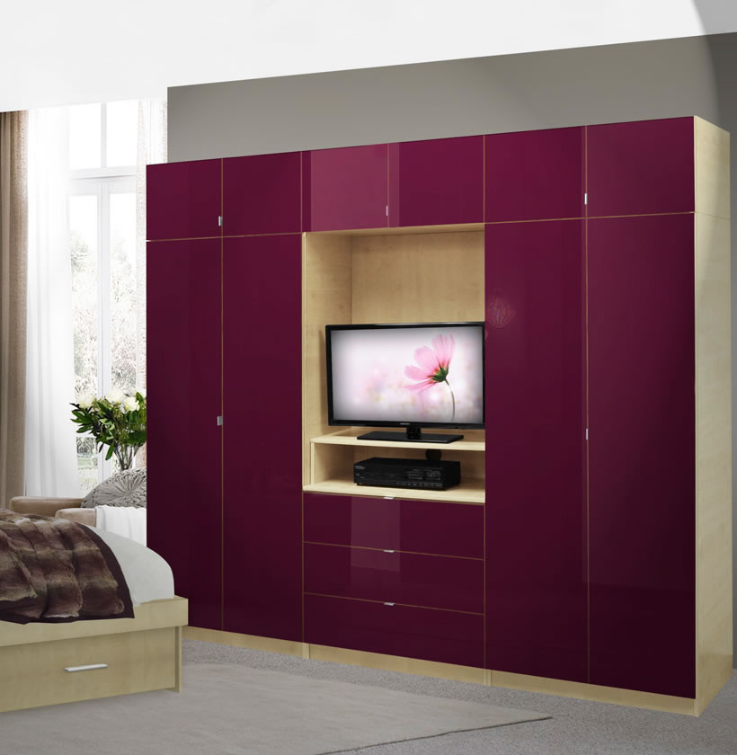 Aventa bedroom wall unit x tall tv wall unit w extra for Bedroom wall units with wardrobe for small room