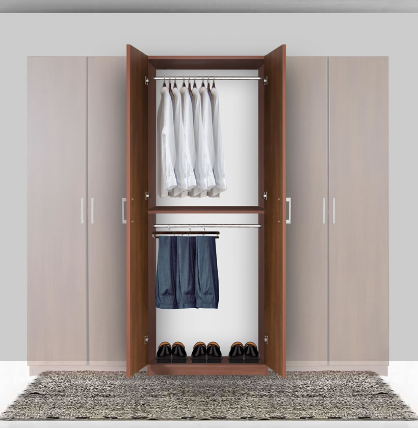 Bella Double Hanging Wardrobe Closet 2 Hang Rods