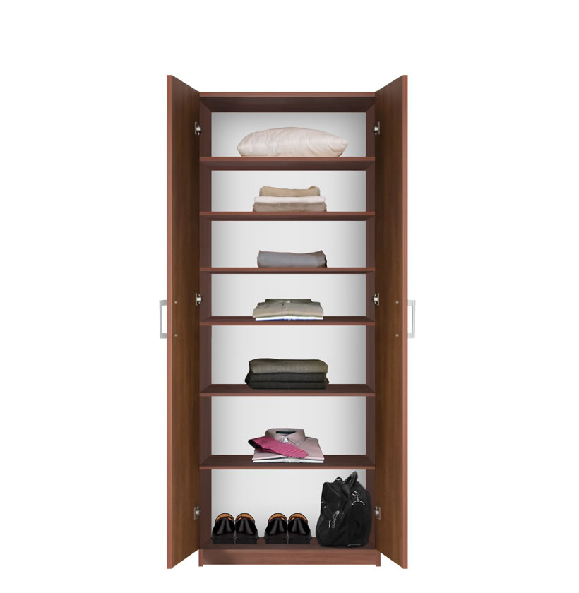 Bella Double Door Wardrobe Cabinet 6 Shelves Contempo