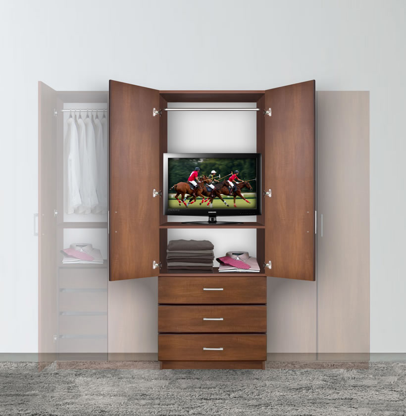 Bella armoire hanging wardrobe storage contempo space for Bedroom armoire with tv storage