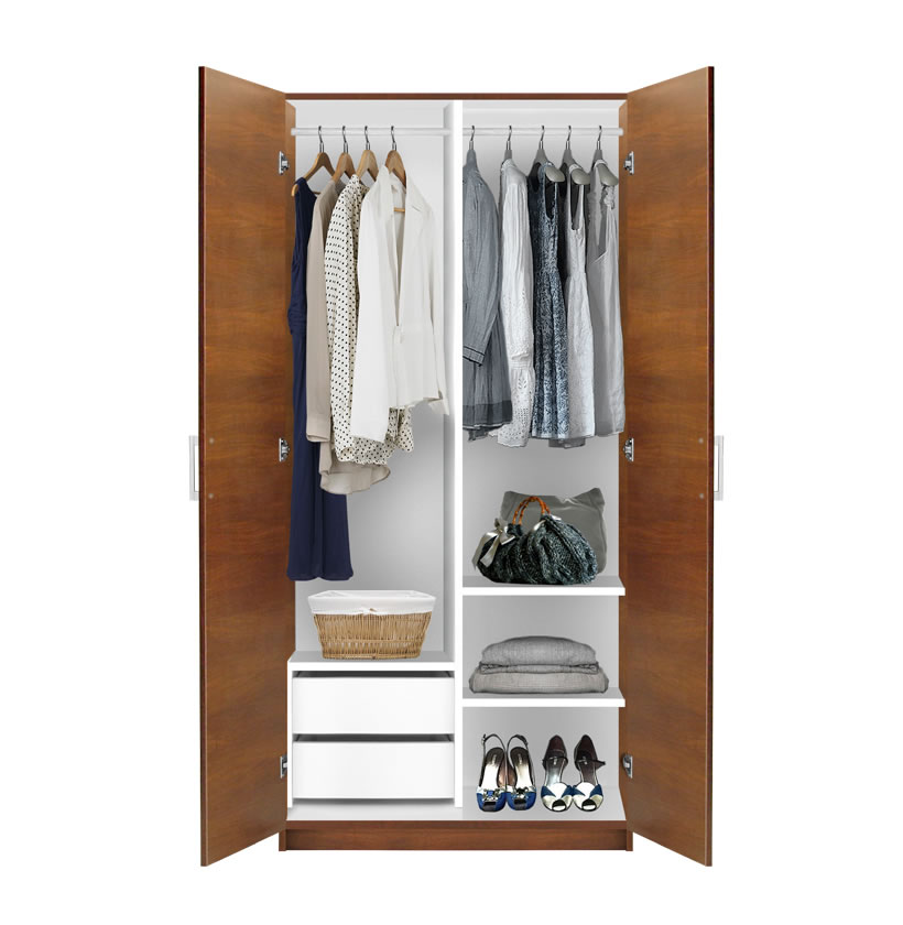 Alta 2 door wardrobe side by side contempo space for Wardrobe interior designs catalogue
