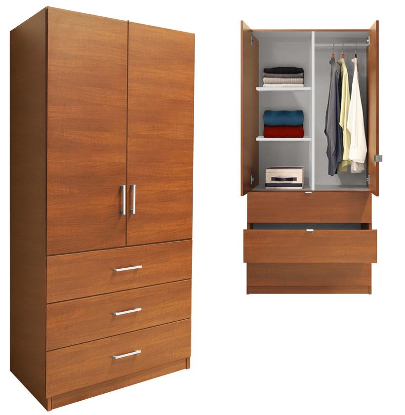 Alta Wardrobe Armoire 3 Drawer Wardrobe Shelves