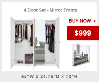 Four Door Mirror Wardrobe Cabinet Promo