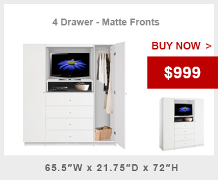 Aventa Bedroom TV Armoire Wardrobe 4 Drawer